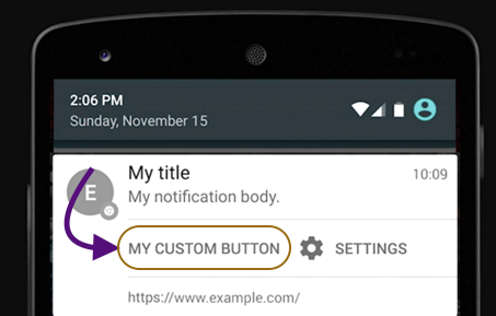 Custom button from chrome notificartions