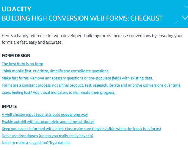 web forms checklist