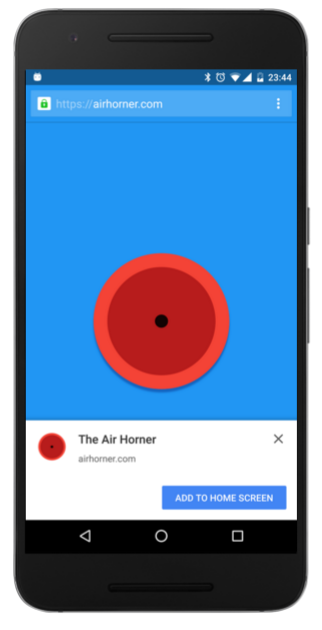 Add to home screen - web app example