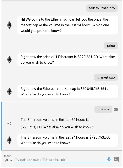 Ether Info app conversation